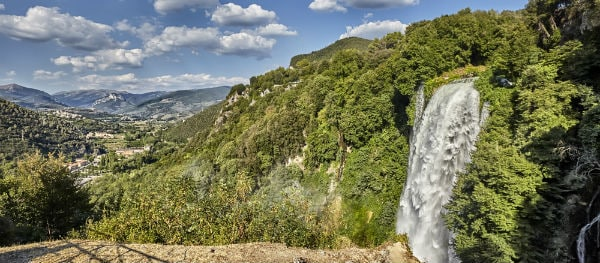 Camping near the Italian waterfall Cascata delle Marmore