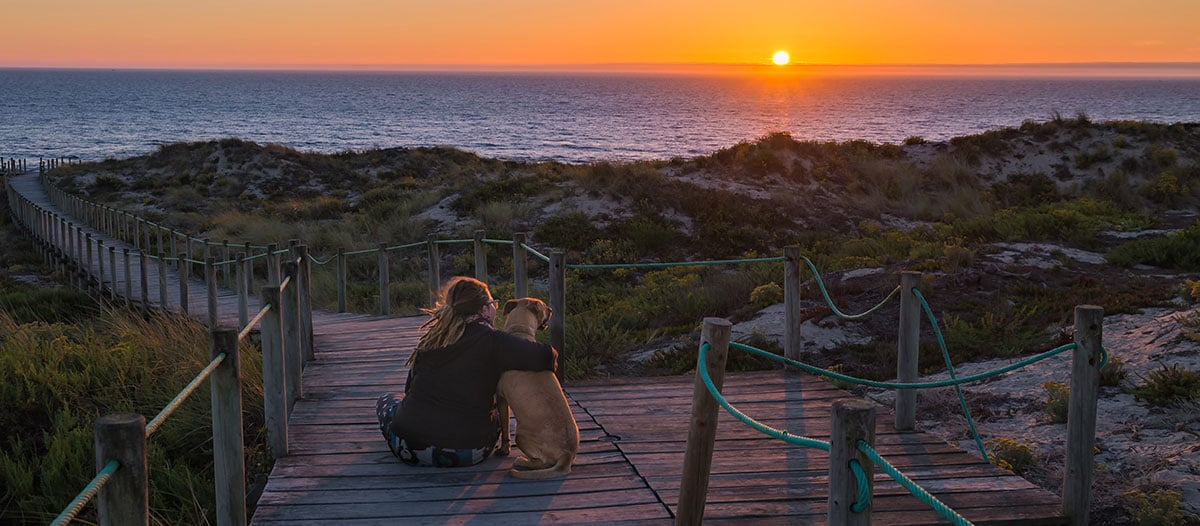 Robby and Emily at sunset by the sea