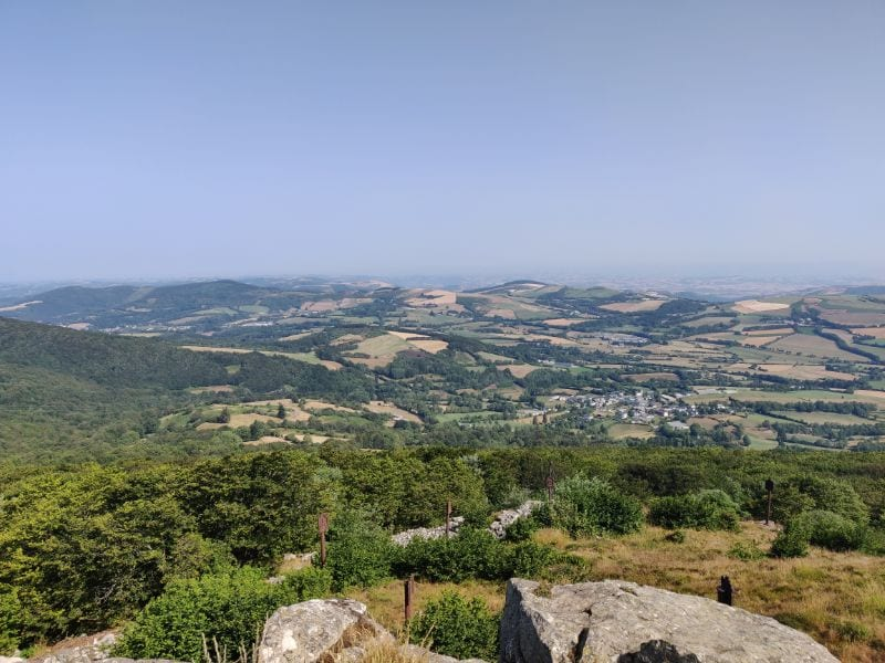 View over the valley at Lacaune from the Pic du Montalet.