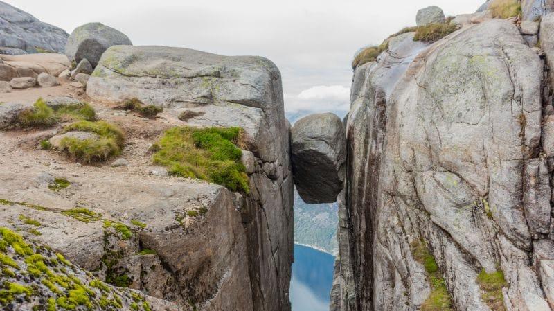 The Kjeragbolten, a boulder wedged between two steep cliffs.