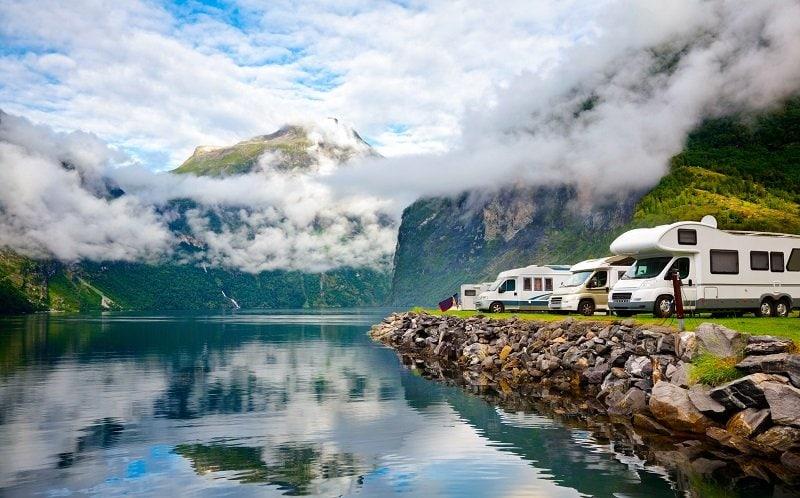 Camping at a beautiful location near a lake